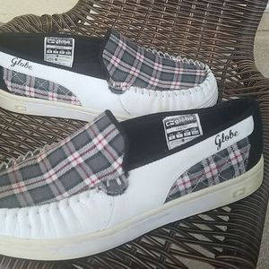 Globe plaid and white loafers